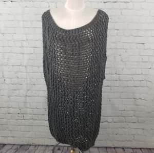 Sweaters - Gray wide neck loose knit slouchy sweater